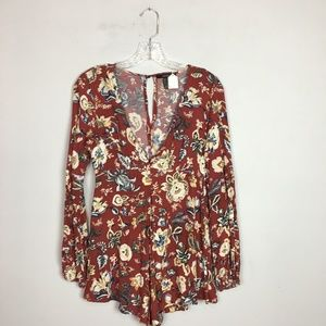Forever 21 floral print romper long sleeve red S